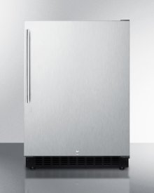 Built-in Undercounter ADA Compliant All-refrigerator With Wrapped Stainless Steel Door, Vertical Handle, Black Cabinet, Door Storage, and Digital Controls