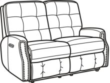 Devon Leather Power Reclining Loveseat with Power Headrests and Nailhead Trim