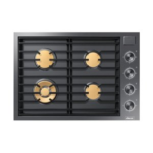 """Dacor30"""" Drop-In Gas Cooktop, Graphite Stainless Steel, Natural Gas"""