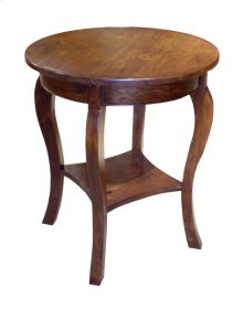 Round Lamp Table w/ Shelf & French Legs