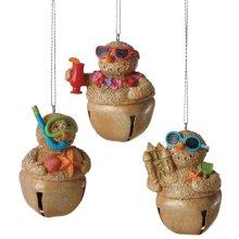 Snowman Sand Jingle Bell Ornament (3 asstd).