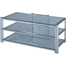 "3-tier TV Stand, Silver/clear Glass, 50""LX24""WX20.5""H"