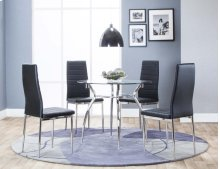 Delphi Dining Table & 4 Black Chairs