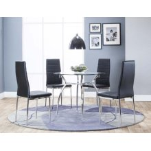 Delphi 5 Piece Dining Room Set: Table & 4 Black Chairs
