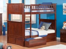 Nantucket Bunk Bed Twin over Twin with Flat Panel Bed Drawers in Walnut