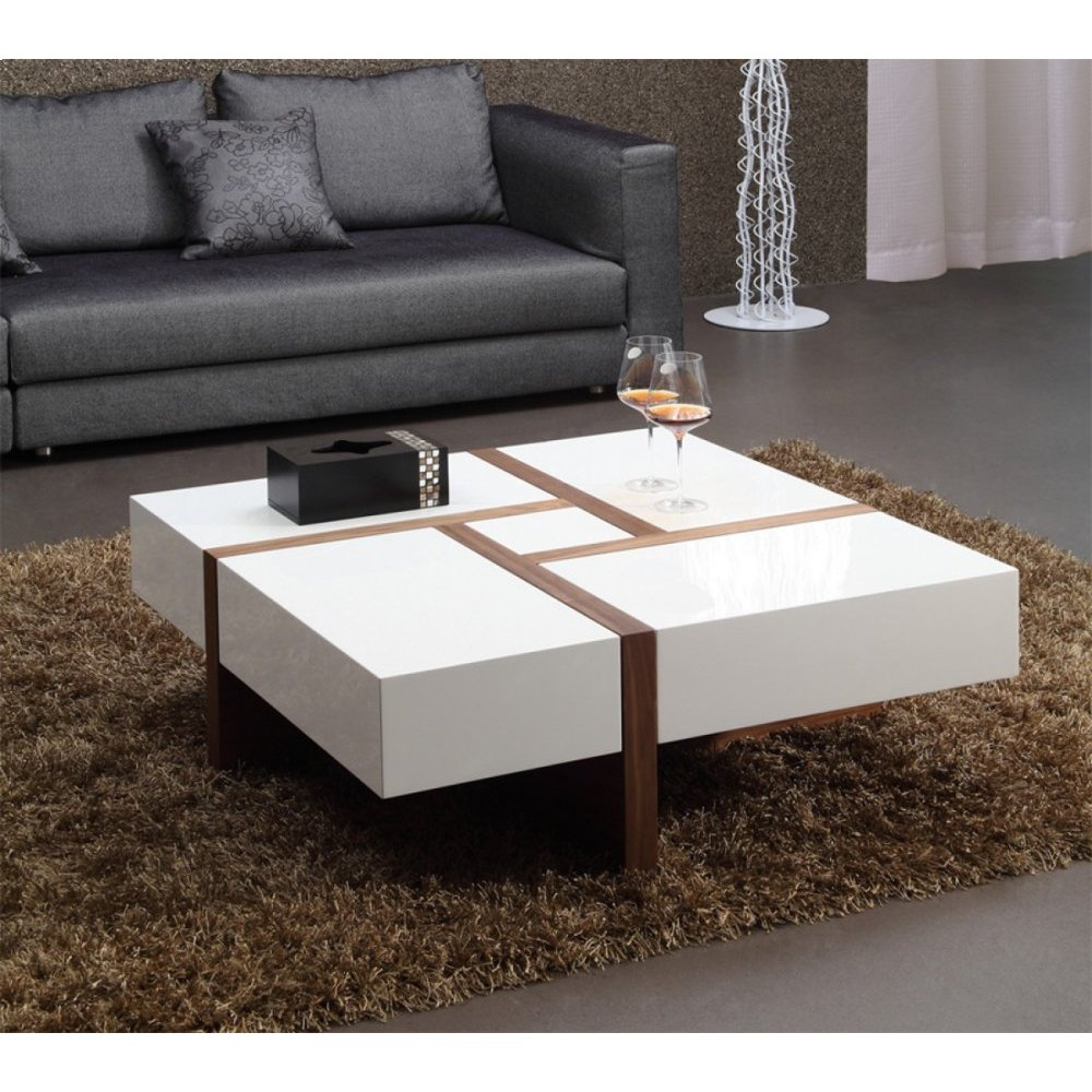 Modrest Makai Modern White & Walnut Square Coffee Table