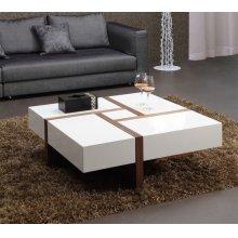 Modrest Makai Modern White & Walnut Square Coffee Table