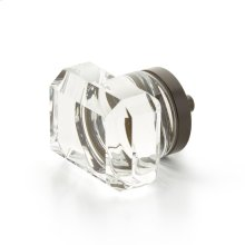 "City Lights, Rectangular Glass Knob, Oil Rubbed Bronze, 1-3/4"" dia"