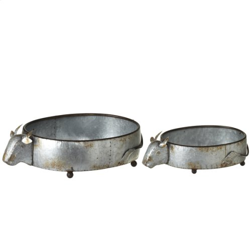 Galvanized Cow Planters (2 pc. set)