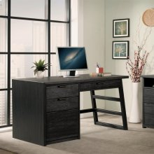 Perspectives - Single Pedestal Desk - Ebonized Acacia Finish