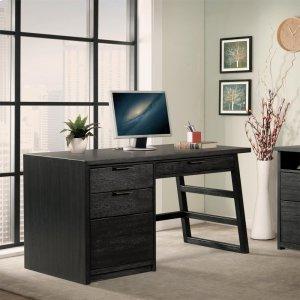 RiversidePerspectives - Single Pedestal Desk - Ebonized Acacia Finish