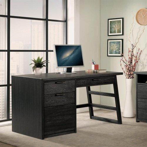 Perspectives - Single Pedestal Desk - Ebonized Acacia Finish