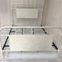 Queen Metal Bed - Antique White