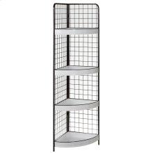 Black & White Enamel Corner Display with Shelves.