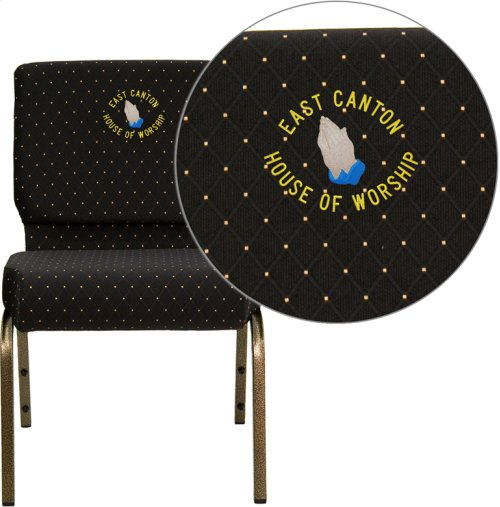 Embroidered HERCULES Series 21''W Stacking Church Chair in Black Dot Patterned Fabric - Gold Vein Frame