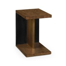 Rectangular Cut-Out Oak End Table