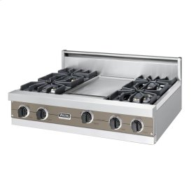 "Stone Gray 36"" Sealed Burner Rangetop - VGRT (36"" wide, four burners 12"" wide griddle/simmer plate)"
