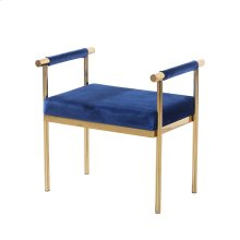Blue/gold Velveteen Bench W/ Arms, Kd