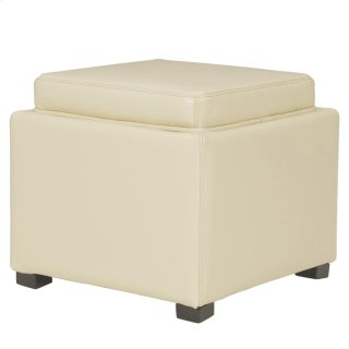 Cameron Square Leather Storage Ottoman w/ tray, Beige