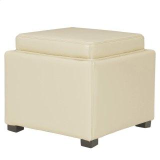 Cameron Square Leather Storage Ottoman w/ tray, Beige