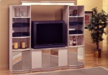 TV STAND - CHAMPAGNE/BRASS HOME THEATER MIRROR DOORS/2PCS