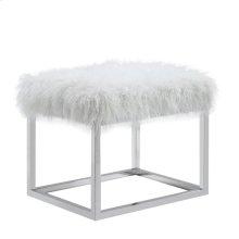 Sm Bench-metal Stainless Steel Frame Ivory Fur #asf012