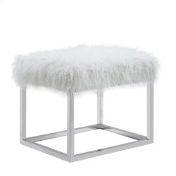 Sm Bench-metal Stainless Steel Frame Ivory Fur #asf012 Product Image