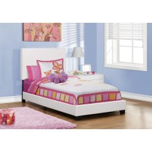 BED - TWIN SIZE / WHITE LEATHER-LOOK