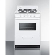 """24"""" Wide Gas Range In White With Sealed Burners, Oven Window, Interior Light, and Electronic Ignition"""