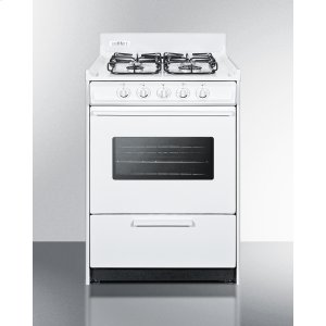 """Summit24"""" Wide Gas Range In White With Sealed Burners, Oven Window, Interior Light, and Electronic Ignition"""