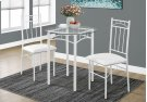DINING SET - 3PCS SET / WHITE METAL / TEMPERED GLASS Product Image