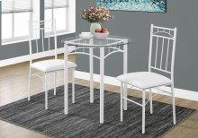 DINING SET - 3PCS SET / WHITE METAL / TEMPERED GLASS