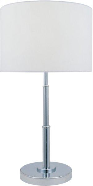 Table Lamp, Chrome/white Fabric Shade, E27 Cfl 13w
