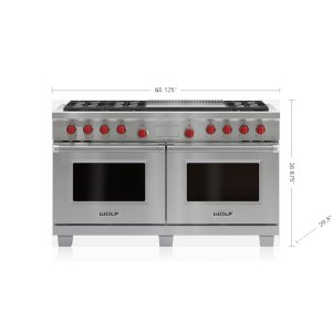 "Wolf60"" Dual Fuel Range - 6 Burners and Infrared Dual Griddle"