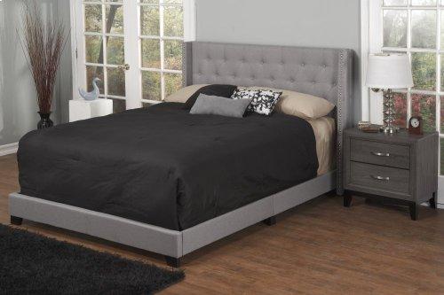 Light Grey Fabric Upholstered 3pc. Full Bed