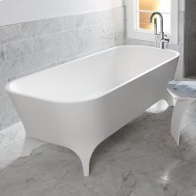 Free-standing soaking bathtub made of white solid surface with an overflow and a decorative solid surface drain; net weight 408 lbs, water capacity 91 gal.