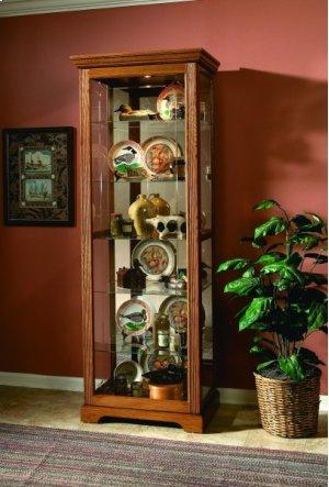 2-way Sliding Door Curio Golden Oak III