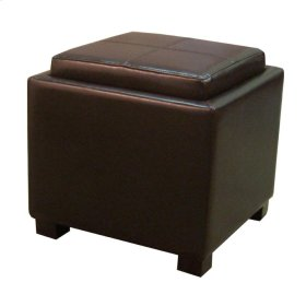Venzia Bonded Leather Square Ottoman, Brown