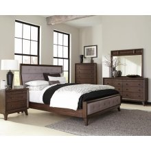 Bingham Retro-modern Brown Upholstered California King Five-piece Bedroom Set