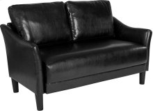 Asti Upholstered Living Room Loveseat in Black Leather