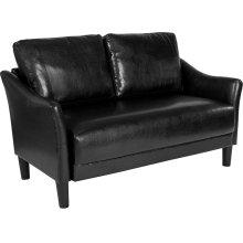 Asti Upholstered Living Room Loveseat in Black Leather