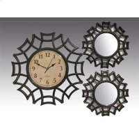 ANTIQUE BLACK 3PC. CLOCK AND MIRROR SET Product Image
