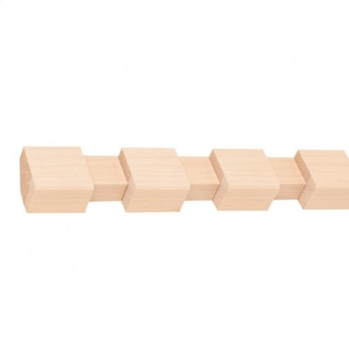 """7/8"""" x 11/16"""" Dentil with 3/4"""" gap and 1"""" teeth *fits into DC2 Crown Moulding* Species: Hard Maple. Priced by the linear foot and sold in 8' sticks in cartons of 120' feet."""