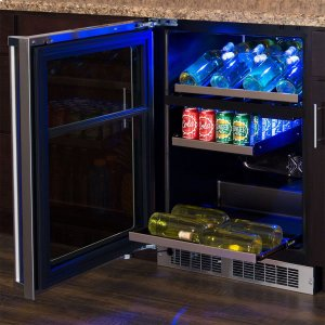 Marvel24-In Professional Built-In Dual Zone Wine And Beverage Center with Door Style - Stainless Steel Frame Glass, Door Swing - Left