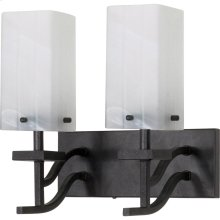 """2-Lights 13"""" Textured Black Wall Mounted Vanity Fixture with Alabaster Swirl Glass"""