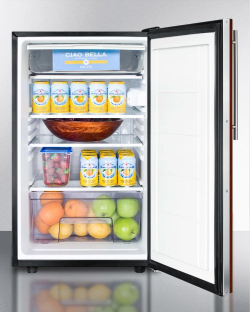 """Commercially Listed ADA Compliant 20"""" Wide Built-in Refrigerator-freezer With A Lock, Black Exterior, and Integrated Door Frame for Overlay Panels"""
