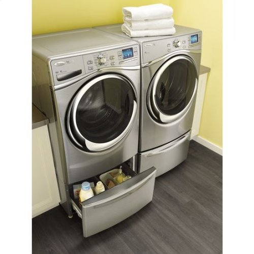 "15.5"" Pedestal for Front Load Washer and Dryer with Storage - stainless steel"