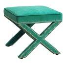 Reese Green Velvet Ottoman Product Image