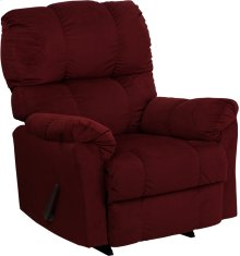 Contemporary Top Hat Berry Microfiber Rocker Recliner