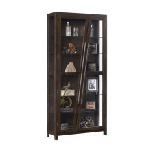 Angled Two Door 5 Shelf Display Cabinet in Rich Oak Brown